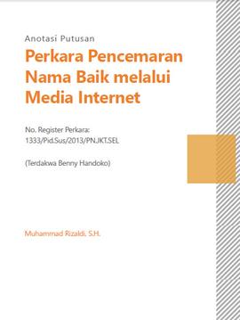 Perkara Pencemaran Nama Baik melalui Media Internet