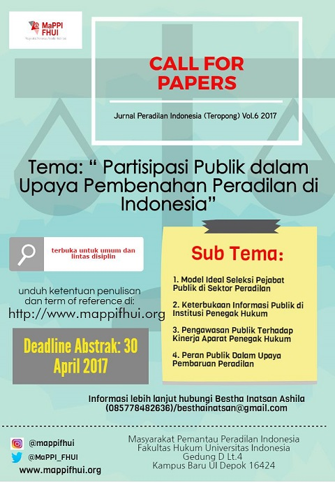 Term Of Reference Call For Paper Jurnal Teropong Peran Partisipasi